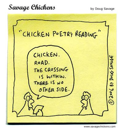 chicken poetry reading funny poems